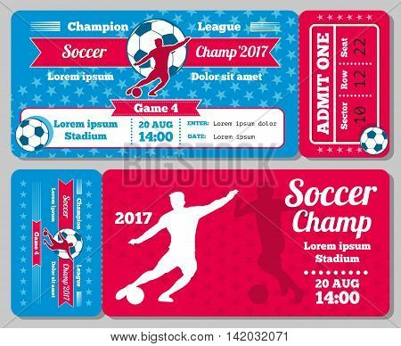 Soccer, football sports vector ticket card, retro design. Vintage card for admit to football. Vector illustration