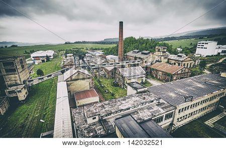 Retro Toned Old Abandoned Coal Mine.