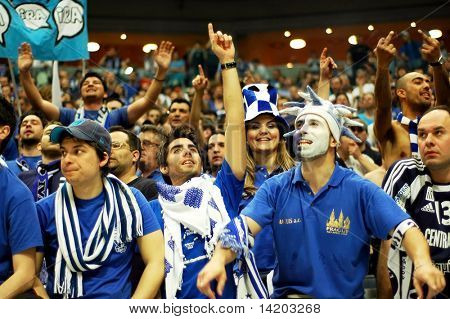 PRAGUE, CZECH REPUBLIC - APRIL 5: Iraklis team supporters watch the volleyball game of Final Four CEV Indesit Champions League at O2 Arena on April 5, 2009 in Prague.