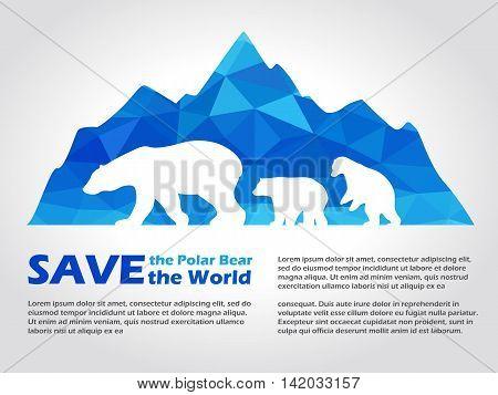 Polar bear on Blue low poly ice mountain vector art design