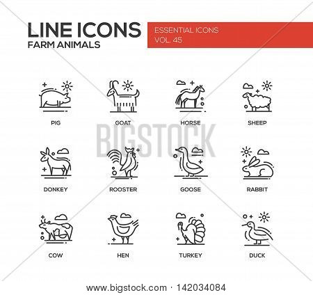 Farm animals - set of modern vector plain line design icons and pictograms. Pig, goat, horse, sheep, donkey, rooster, goose, rabbit, cow hen turkey duck