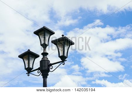Lamp post with beautiful blue sky background