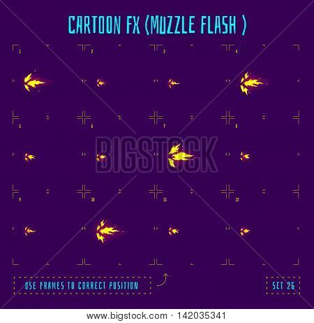 Muzzle flash explosion sprites or fx animation frames icons. Use in game development, mobile games or motion graphic. Vector illustration.