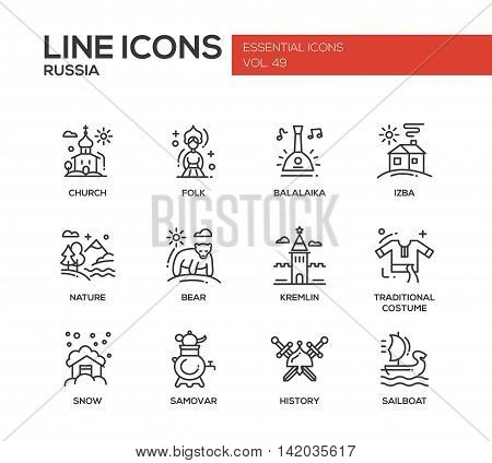Russian national symbols - set of modern vector plain line design icons and pictograms. Church, folk, balalaika, izba, nature, bear, kremlin, traditional costume, snow, samovar history sailboat