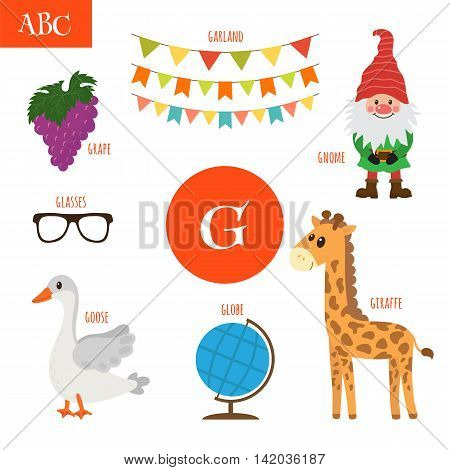Letter G. Cartoon Alphabet For Children. Giraffe, Gnome, Grape, Goose, Globe, Glasses, Garland