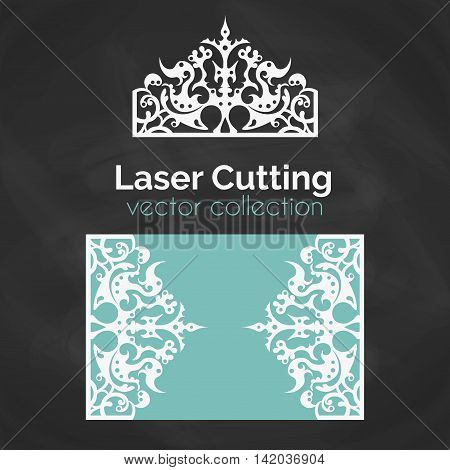 Laser Cut Card. Template For Laser Cutting. Cutout Illustration With Crown Decoration. Die Cut Wedding Invitation Card. Vector Envelope Design.