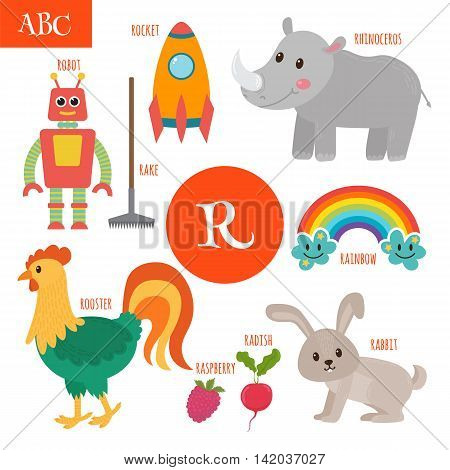 Letter R. Cartoon Alphabet For Children. Radish, Rhinoceros, Rocket, Raspberry, Robot, Rainbow, Rake