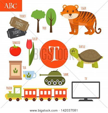 Letter T. Cartoon Alphabet For Children. Tiger, Turtle, Tv, Tea, Tomato, Tree, Train, Tulip, Ticket,