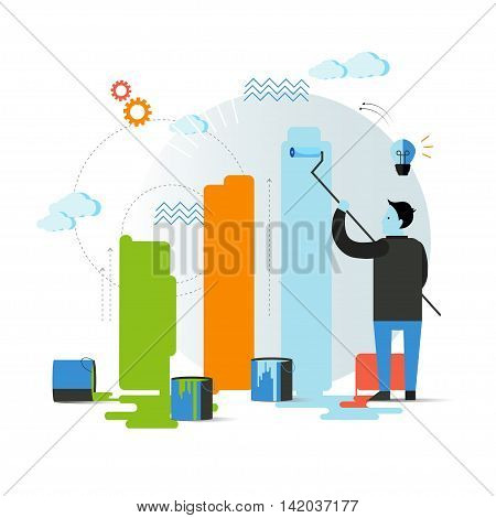 Vector concept illustration in flat design. Businessman paint raiting on the wall. Isolated on colored background