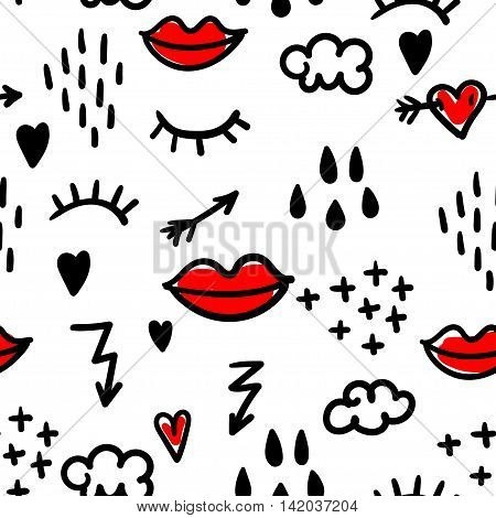 Abstract seamless pattern with doodle: eyelashes, red lips, arrows, lightning, clouds and rain drops. Vector illustration.