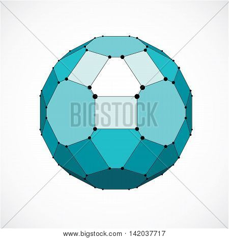 Vector Dimensional Wireframe Low Poly Object, Spherical Green Facet Shape With Black Grid. Technolog