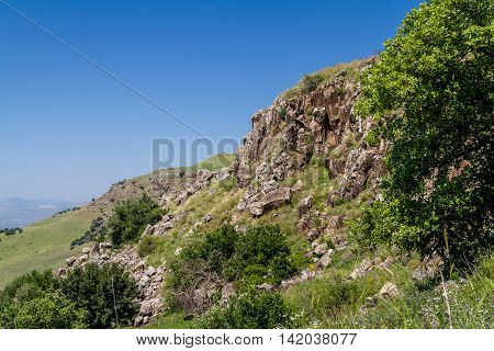 Mountain landscape view of the hills in the Gamla Nature Reserve in Israel