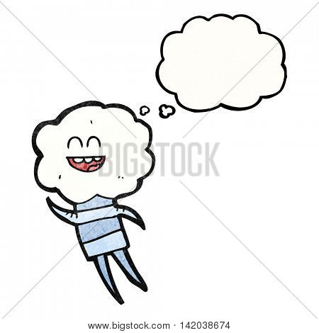 freehand drawn thought bubble textured cartoon cute cloud head creature