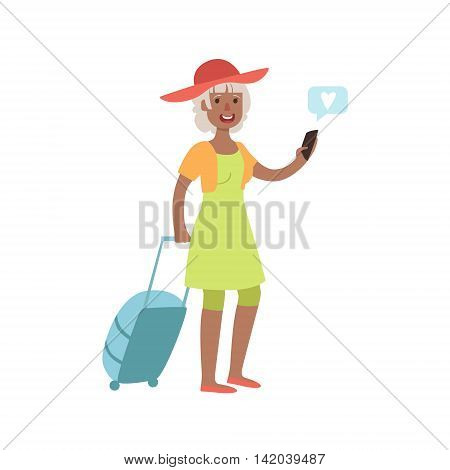 Old Lady Travelling And Texting Bright Color Cartoon Simple Style Flat Vector Sticker Isolated On White Background