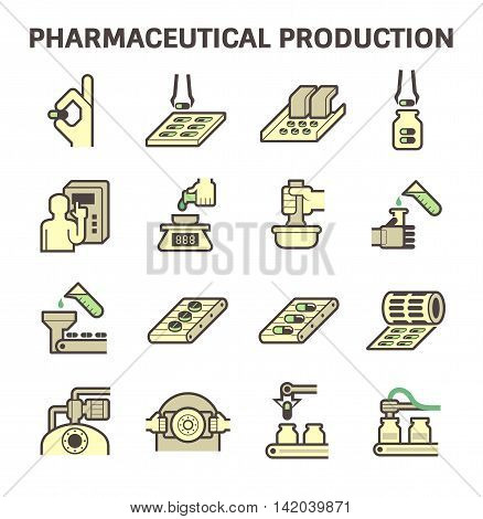 Pharmaceutical production vector icon set, flat and color design.