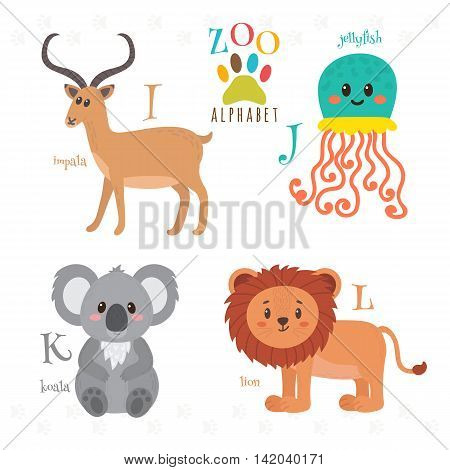 Zoo Alphabet With Funny Cartoon Animals. I, J, K, L Letters. Impala, Jellyfish, Koala, Lion