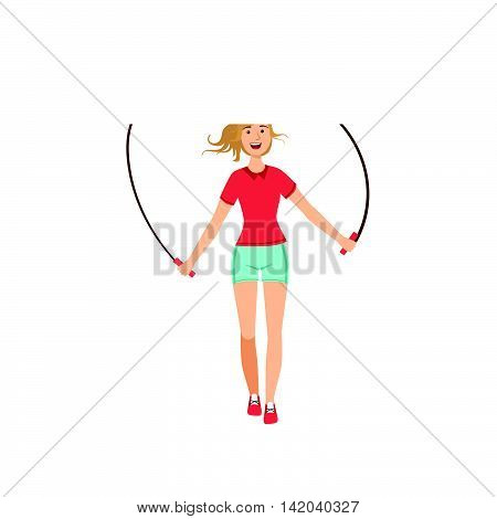 Woman Exercising With Skipping Rope Illustration Isolated On White Background. Simplified Cartoon Character Flat Vector Icon