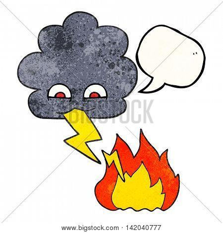 freehand speech bubble textured cartoon thundercloud lightning strike