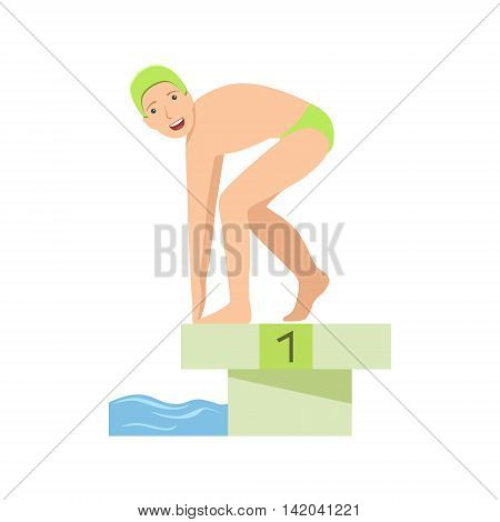 Man Getting Ready For A Swim In Pool Illustration Isolated On White Background. Simplified Cartoon Character Flat Vector Icon