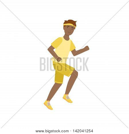 Man Running In Yellow Uniform Illustration Isolated On White Background. Simplified Cartoon Character Flat Vector Icon
