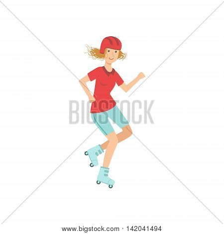 Woman Doing Roller Skating In Helmet Illustration Isolated On White Background. Simplified Cartoon Character Flat Vector Icon