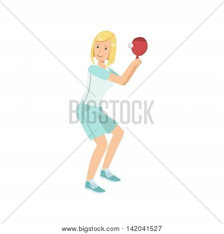 Woman Playing Table Tennis Illustration Isolated On White Background. Simplified Cartoon Character Flat Vector Icon