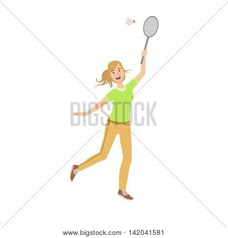 Woman Playing Badminton With Shuttlecock Illustration Isolated On White Background. Simplified Cartoon Character Flat Vector Icon