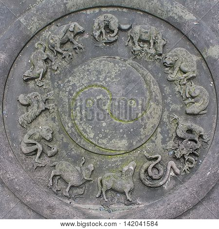 Animals Chinese Zodiac signs on stone coin