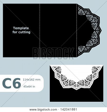 C6 paper openwork greeting card template for cutting lace invitation card with fold lines object isolated background vector illustration