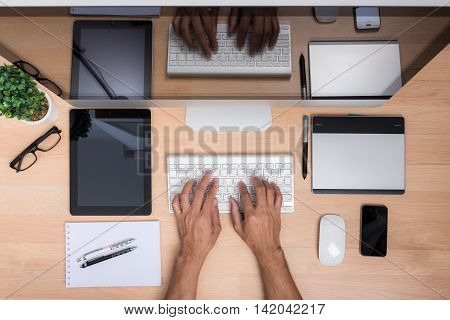 Top View Office Hand Working With Keyboard Mouse