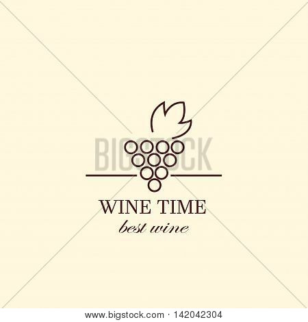 Vector grape vine, negative space logo design template. Colorful trendy illustration. Concept for wine list, bar menu, alcohol drinks, wine label.