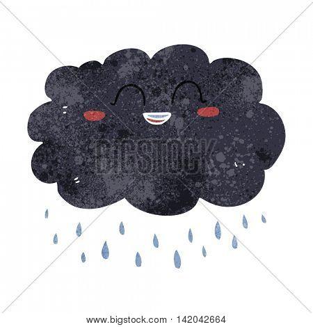 freehand retro cartoon raincloud