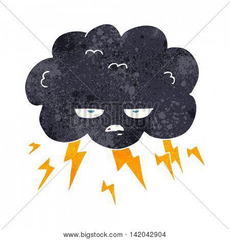 freehand retro cartoon thundercloud