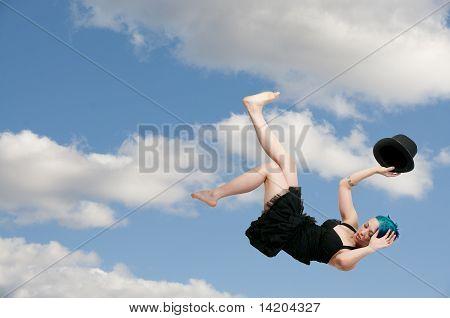 Falling Woman Wearing A Top Hat