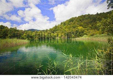 Beautiful landscape in the Plitvice Lakes National Park in Croatia
