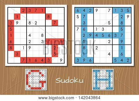 Sudoku vector set with answers. G, H letters