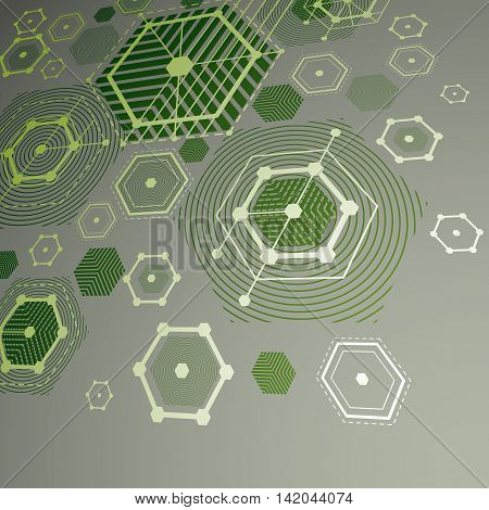 3d vector abstract green background created in Bauhaus retro style.