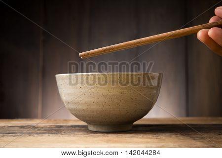 Bowl Japanese, Plate Japanese style on wood background