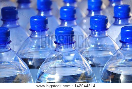 Batch of water supply in plastic bottles.