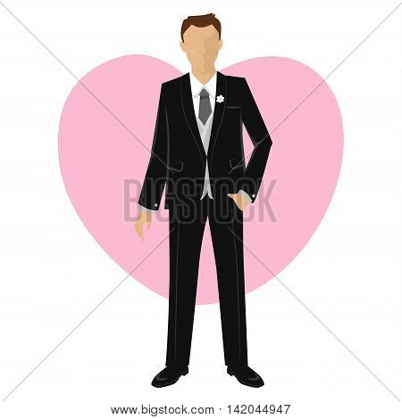 Vector Illustration of Groom wearing formal Black Suit