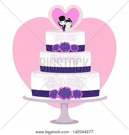 Vector Illustration of 3 Layered Wedding Cake