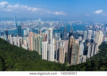 Hong Kong Skyline landscape in China from the peak