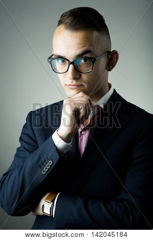 Thoughtful Guy In Glasses