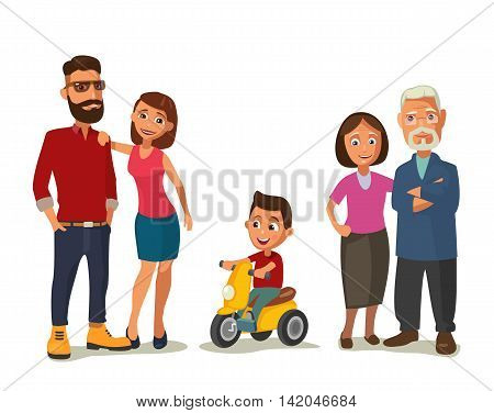 Happy family. Parents grandparents and child on a tricycle. Color flat vector illustration isolated on white background.