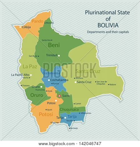 Vector illustration of administrative map of Bolivia. Capital of country departments and big cities. Flat design clean look