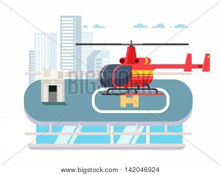 Helicopter on roof with man. Transportation aviation, helipad rooftop, flat vector illustration