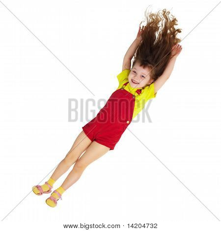 Happy Little Girl Falls Down