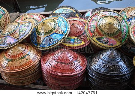 Colorful Conical chinese hats style from vietnam