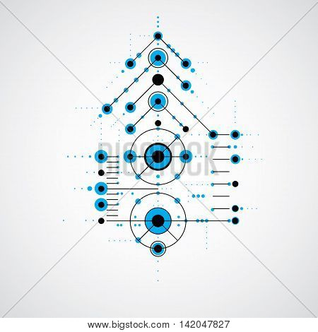 Modular Bauhaus blue vector background created from simple geometric figures like circles and lines.