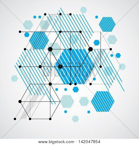 Vector abstract blue background created in Bauhaus retro style.